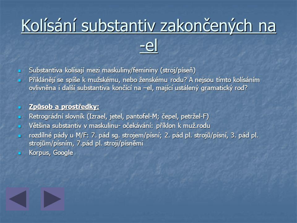 Kolísání substantiv zakončených na -el Substantiva kolísají mezi maskuliny/femininy (stroj/píseň) Substantiva kolísají mezi maskuliny/femininy (stroj/