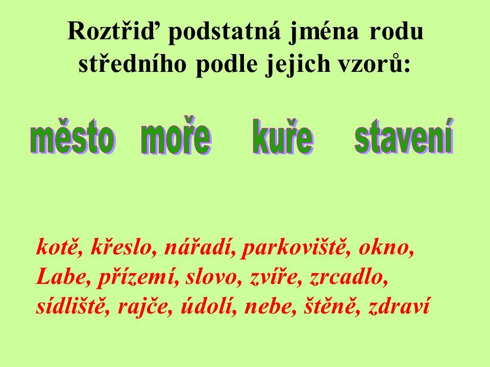 Roztřiď podstatná jména rodu středního podle jejich vzorů: kotě, křeslo, nářadí, parkoviště, okno, Labe, přízemí, slovo, zvíře, zrcadlo, sídliště, rajče, údolí, nebe, štěně, zdraví