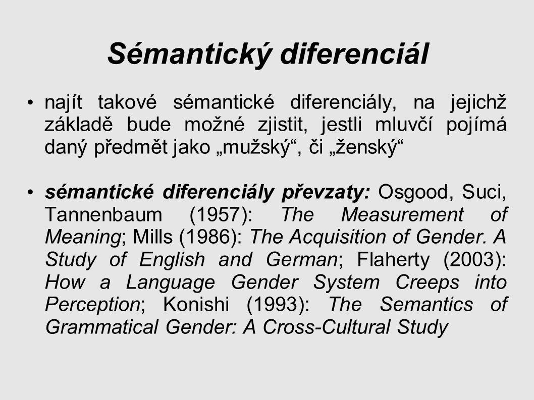 """Sémantický diferenciál najít takové sémantické diferenciály, na jejichž základě bude možné zjistit, jestli mluvčí pojímá daný předmět jako """"mužský , či """"ženský sémantické diferenciály převzaty: Osgood, Suci, Tannenbaum (1957): The Measurement of Meaning; Mills (1986): The Acquisition of Gender."""