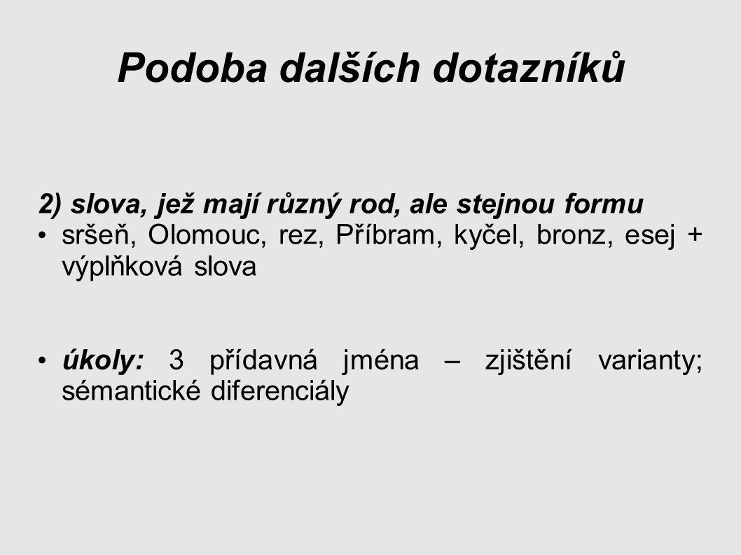 Podoba dalších dotazníků 2) slova, jež mají různý rod, ale stejnou formu sršeň, Olomouc, rez, Příbram, kyčel, bronz, esej + výplňková slova úkoly: 3 přídavná jména – zjištění varianty; sémantické diferenciály