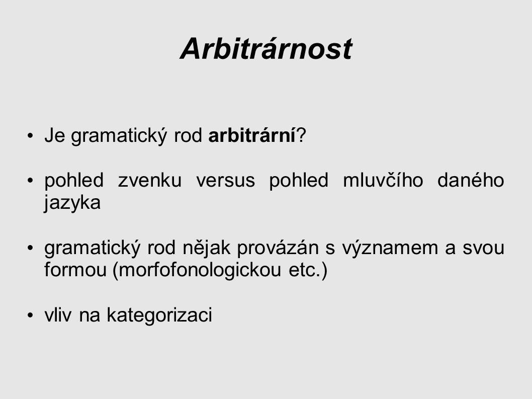 Arbitrárnost Je gramatický rod arbitrární.