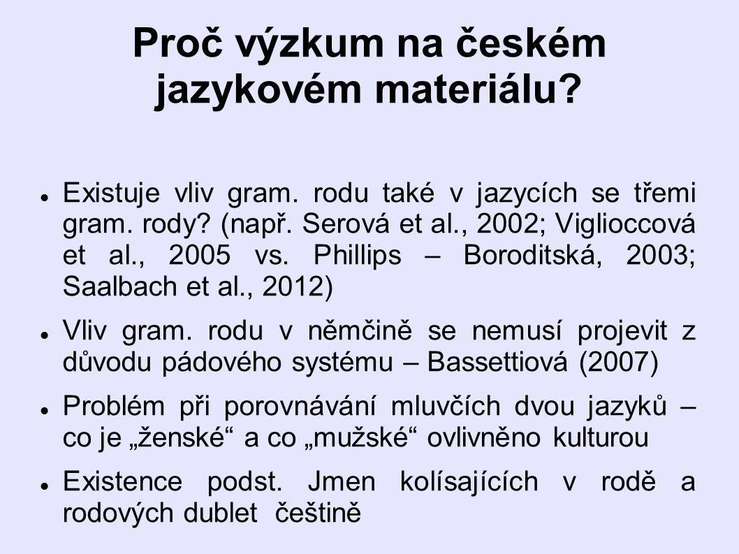 Proč výzkum na českém jazykovém materiálu.Existuje vliv gram.