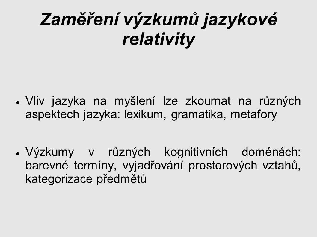 Zaměření výzkumů jazykové relativity Vliv jazyka na myšlení lze zkoumat na různých aspektech jazyka: lexikum, gramatika, metafory Výzkumy v různých kognitivních doménách: barevné termíny, vyjadřování prostorových vztahů, kategorizace předmětů