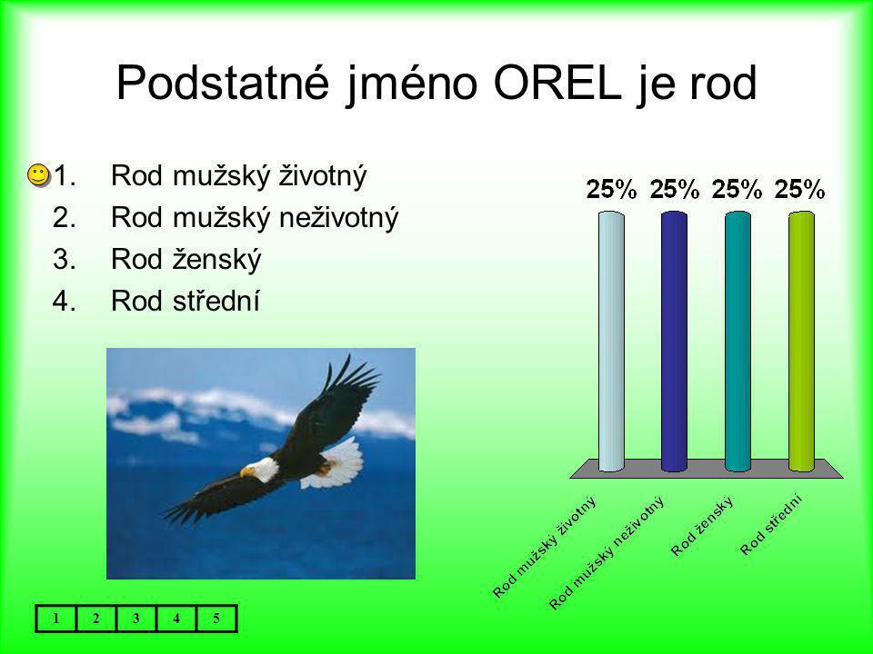 Podstatné jméno OREL je rod 12345 1.Rod mužský životný 2.Rod mužský neživotný 3.Rod ženský 4.Rod střední