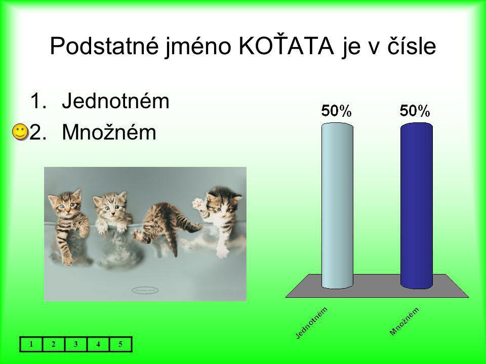 Podstatné jméno KOŤATA je v čísle 12345 1.Jednotném 2.Množném