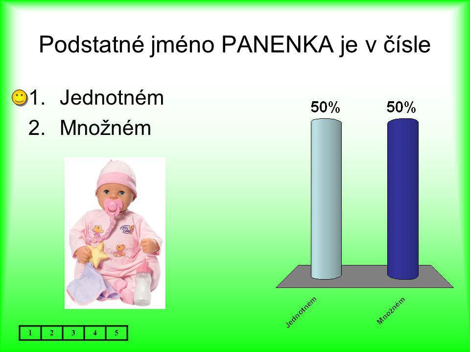 Podstatné jméno PANENKA je v čísle 12345 1.Jednotném 2.Množném