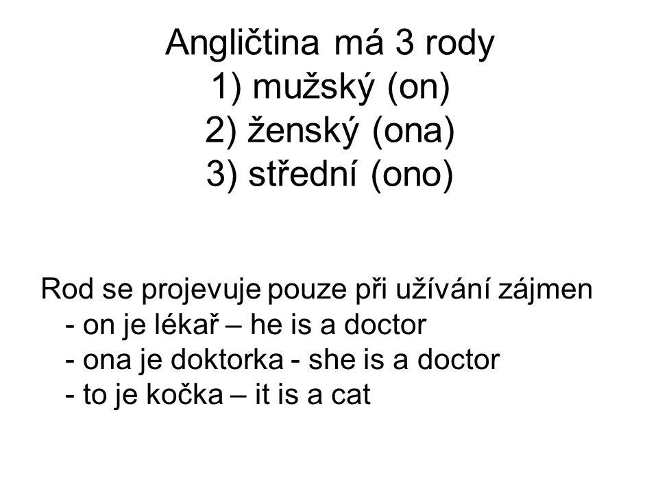 Angličtina má 3 rody 1) mužský (on) 2) ženský (ona) 3) střední (ono) Rod se projevuje pouze při užívání zájmen - on je lékař – he is a doctor - ona je doktorka - she is a doctor - to je kočka – it is a cat