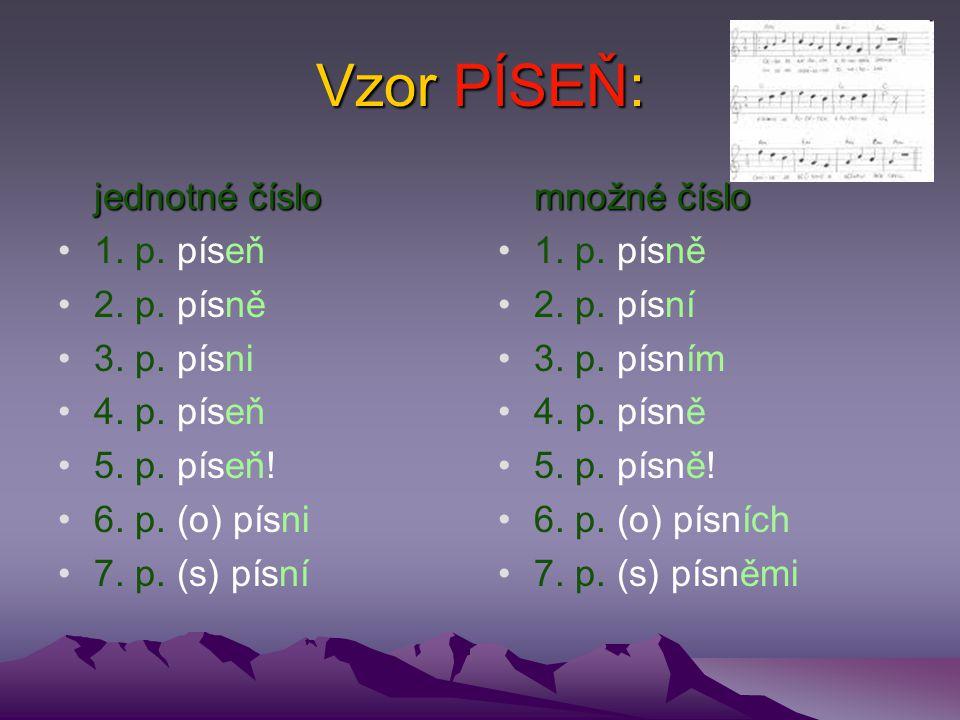 Vzor PÍSEŇ: jednotné číslo 1. p. píseň 2. p. písně 3. p. písni 4. p. píseň 5. p. píseň! 6. p. (o) písni 7. p. (s) písní množné číslo 1. p. písně 2. p.