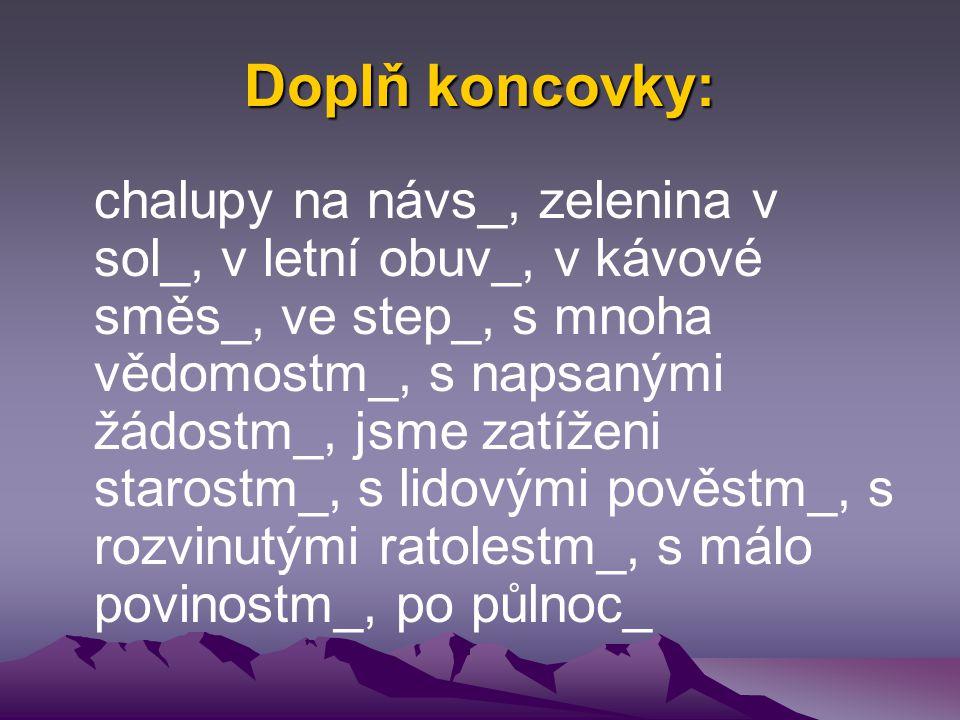Doplň koncovky: chalupy na návs_, zelenina v sol_, v letní obuv_, v kávové směs_, ve step_, s mnoha vědomostm_, s napsanými žádostm_, jsme zatíženi starostm_, s lidovými pověstm_, s rozvinutými ratolestm_, s málo povinostm_, po půlnoc_