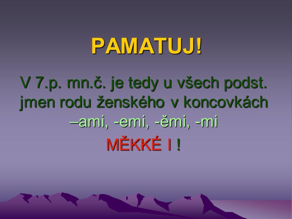 PAMATUJ! V 7.p. mn.č. je tedy u všech podst. jmen rodu ženského v koncovkách –ami, -emi, -ěmi, -mi MĚKKÉ I !