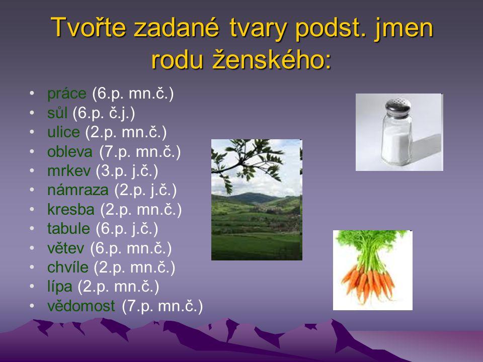 Tvořte zadané tvary podst. jmen rodu ženského: práce (6.p. mn.č.) sůl (6.p. č.j.) ulice (2.p. mn.č.) obleva (7.p. mn.č.) mrkev (3.p. j.č.) námraza (2.