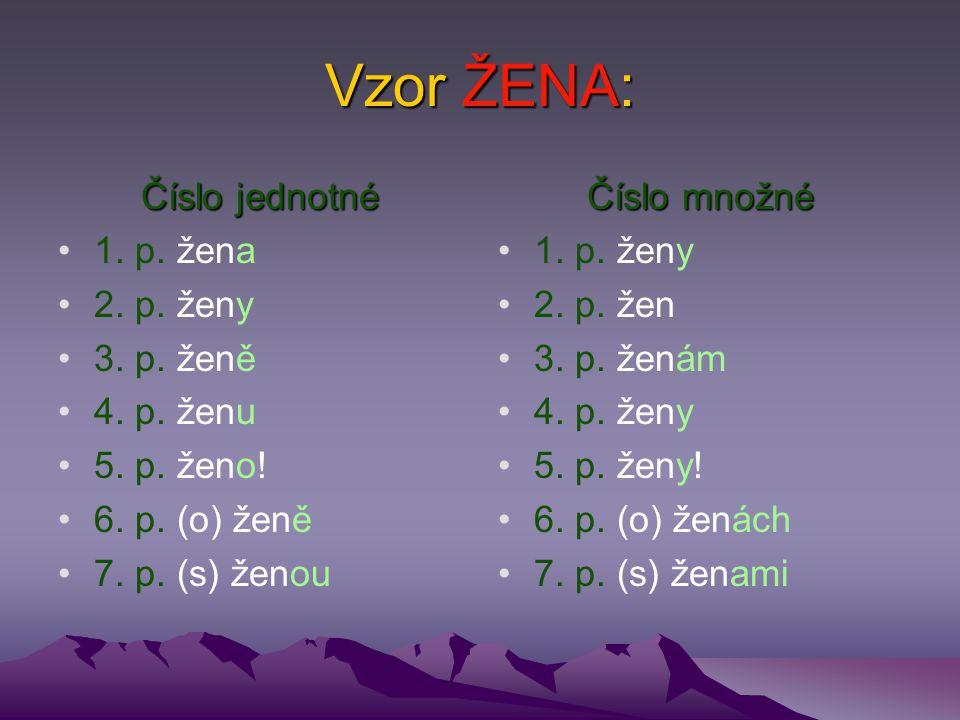Vzor ŽENA: Číslo jednotné 1.p. žena 2. p. ženy 3.