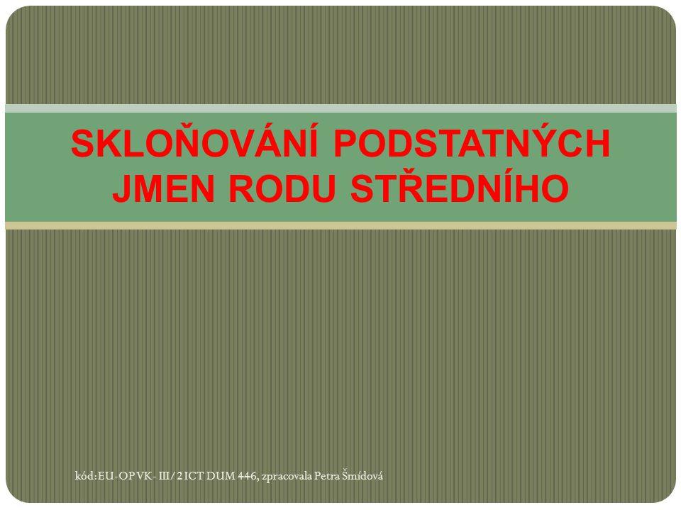 SKLOŇOVÁNÍ PODSTATNÝCH JMEN RODU STŘEDNÍHO kód:EU-OP VK- III/2 ICT DUM 446, zpracovala Petra Šmídová