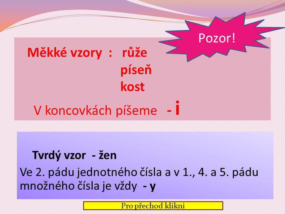 1.p. ženy růže písně kosti 2. p. 3. p. 4. p. 5. p. 6. p. 7. p. Skoňuj vzory v čísle množném žen ženám ženy ženy! ženách ženami růží růžím růže růže! r