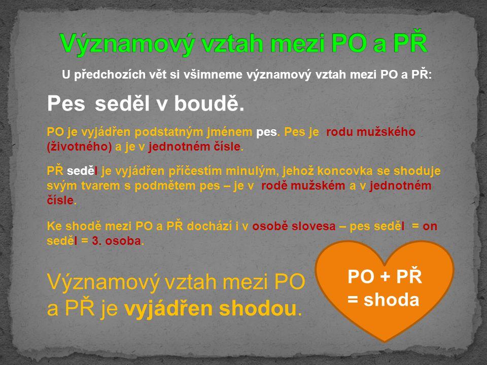 U předchozích vět si všimneme významový vztah mezi PO a PŘ: Významový vztah mezi PO a PŘ je vyjádřen shodou.