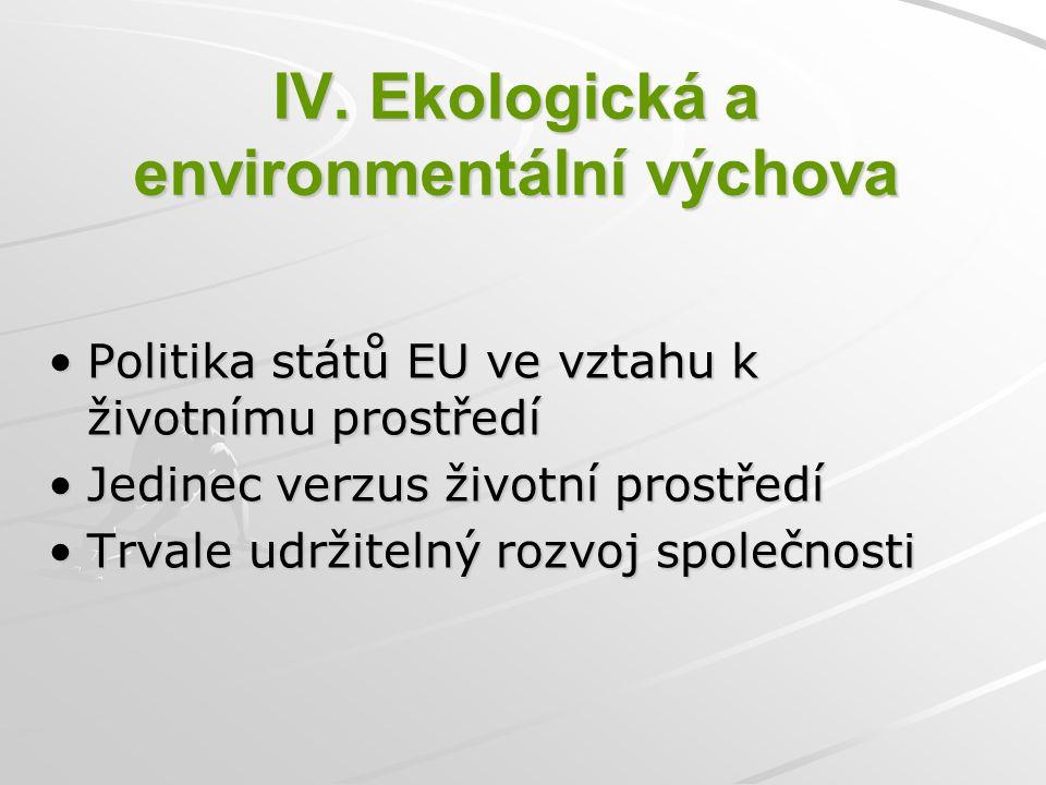 IV. Ekologická a environmentální výchova Politika států EU ve vztahu k životnímu prostředí Jedinec verzus životní prostředí Trvale udržitelný rozvoj s