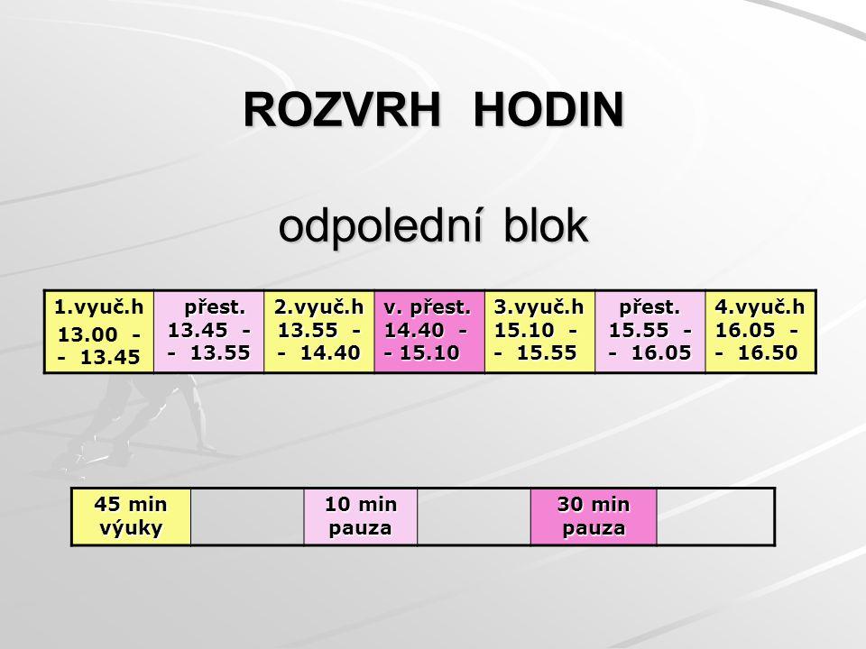 ROZVRH HODIN odpolední blok 1.vyuč.h 13.00 - - 13.45 přest.