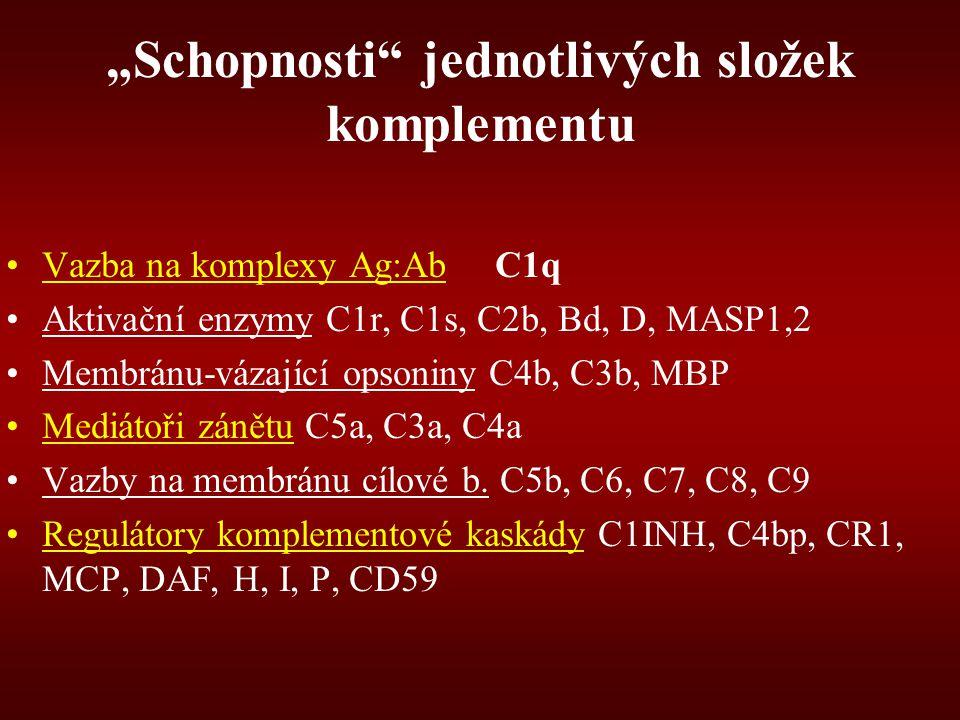 Deficience komplementového systému C1-C4 : častý vývoj systémových imunokoplexových chorob (SLE-like), náchylnost k pyogenním infekcím C3-C9: zejména náchylnost k pyogenním infekcím; u deficitu C9 jsou typické opakované meningokové meningitidy C1 INH: hereditární angioedém