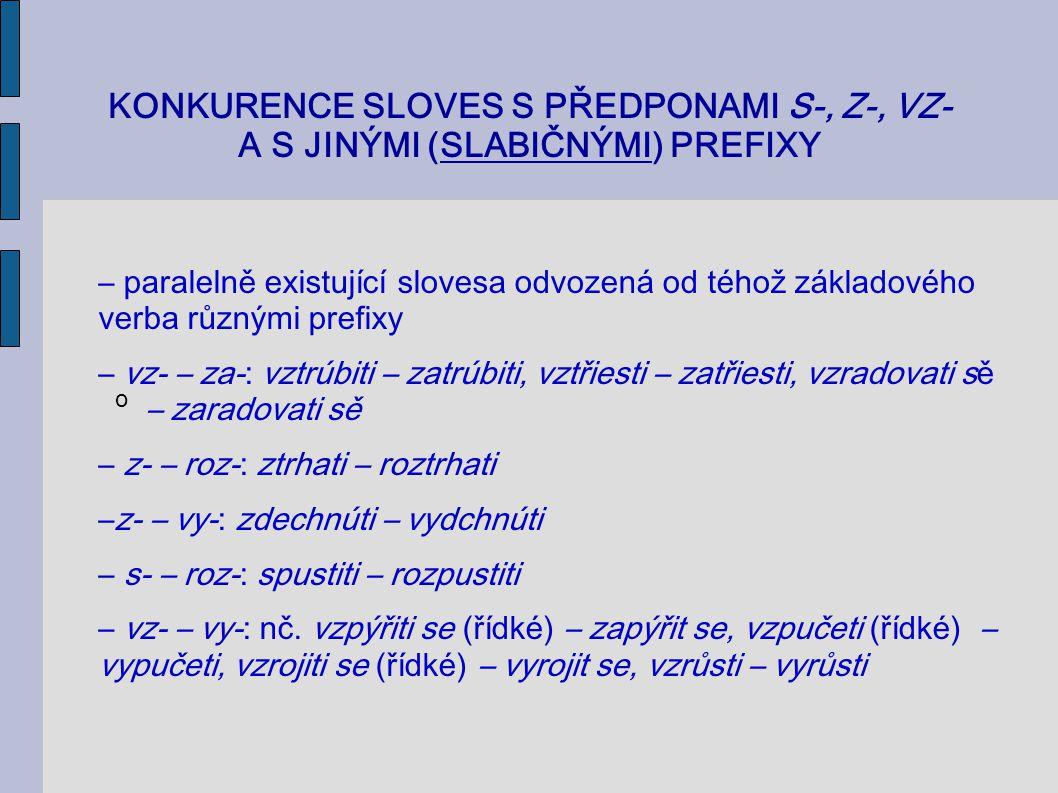 KONKURENCE SLOVES S PŘEDPONAMI S-, Z-, VZ- A S JINÝMI (SLABIČNÝMI) PREFIXY o – paralelně existující slovesa odvozená od téhož základového verba různým