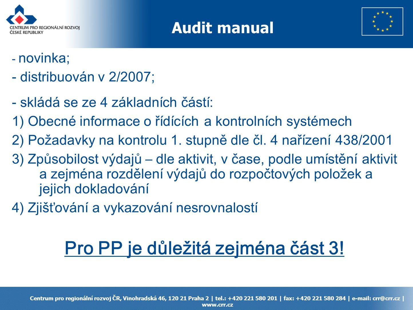 Audit manual Centrum pro regionální rozvoj ČR, Vinohradská 46, 120 21 Praha 2 | tel.: +420 221 580 201 | fax: +420 221 580 284 | e-mail: crr@crr.cz |