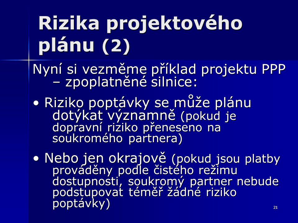 21 Rizika projektového plánu (2) Nyní si vezměme příklad projektu PPP – zpoplatněné silnice: Riziko poptávky se může plánu dotýkat významně (pokud je