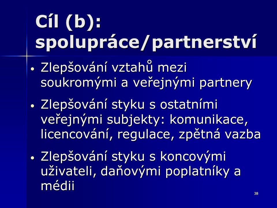 38 Cíl (b): spolupráce/partnerství Zlepšování vztahů mezi soukromými a veřejnými partnery Zlepšování vztahů mezi soukromými a veřejnými partnery Zlepš