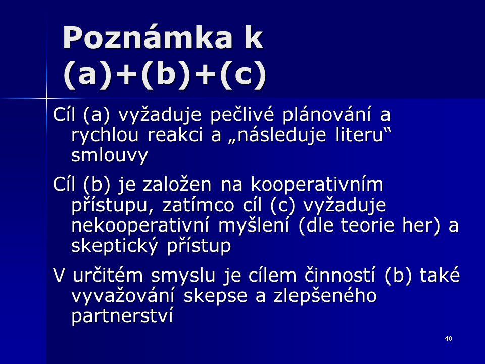 """40 Poznámka k (a)+(b)+(c) Cíl (a) vyžaduje pečlivé plánování a rychlou reakci a """"následuje literu"""" smlouvy Cíl (b) je založen na kooperativním přístup"""