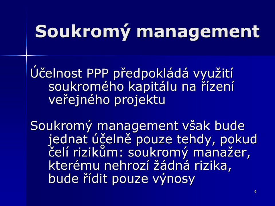 9 Soukromý management Účelnost PPP předpokládá využití soukromého kapitálu na řízení veřejného projektu Soukromý management však bude jednat účelně pouze tehdy, pokud čelí rizikům: soukromý manažer, kterému nehrozí žádná rizika, bude řídit pouze výnosy
