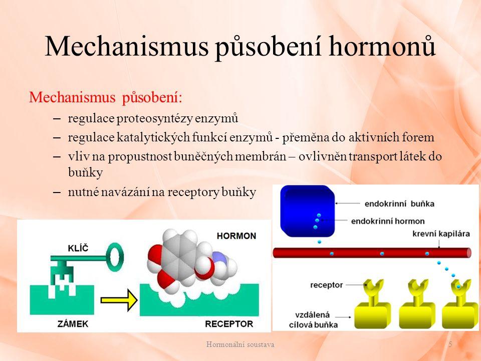 Rozdělení hormonů Rozdělení hormonů podle místa vzniku: 1.v endokrinních žlázách: – nemají vývody 2.tkáňové hormony: – vylučovány z tkání – gastrin, sekretin 3.neurohormony: – produkovány neurosekrečními buňkami – neurokrinie - schopnost nervových buněk tvořit hormony – např.