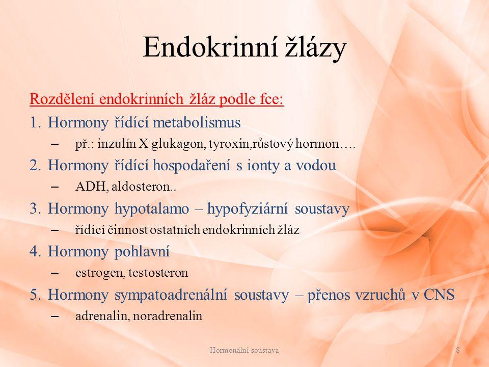 Hypofýza – podvěsek mozkový řídící endokrinní žláza (její hormony řídí činnost jiných žláz s vnitřní sekrecí) malá žláza (1 cm, jako třešeň), hmotnost 0,6 g spojená krátkou stopkou s hypotalamem v mezimozku má dva laloky - přední (adenohypofýza) a zadní (neurohypofýza) 9Hormonální soustava