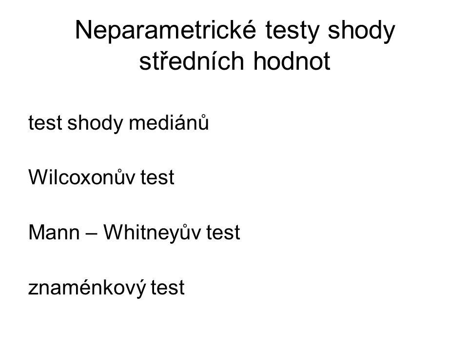 Neparametrické testy shody středních hodnot test shody mediánů Wilcoxonův test Mann – Whitneyův test znaménkový test