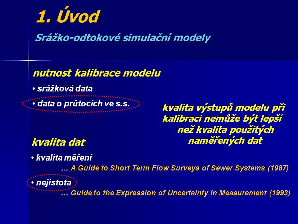 1. Úvod Srážko-odtokové simulační modely nutnost kalibrace modelu srážková data data o průtocích ve s.s. kvalita výstupů modelu při kalibraci nemůže b