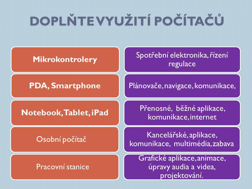 DOPLŇTE VYUŽITÍ POČÍTAČŮ Spotřební elektronika, řízení regulace Přenosné, běžné aplikace, komunikace, internet Kancelářské, aplikace, komunikace, mult