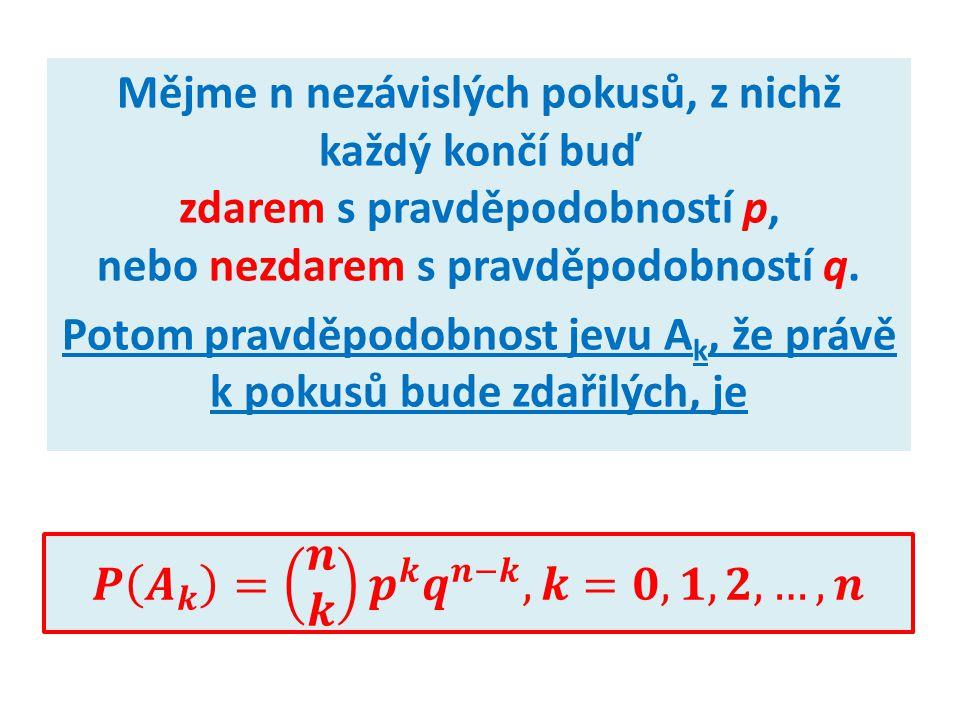 Mějme n nezávislých pokusů, z nichž každý končí buď zdarem s pravděpodobností p, nebo nezdarem s pravděpodobností q.