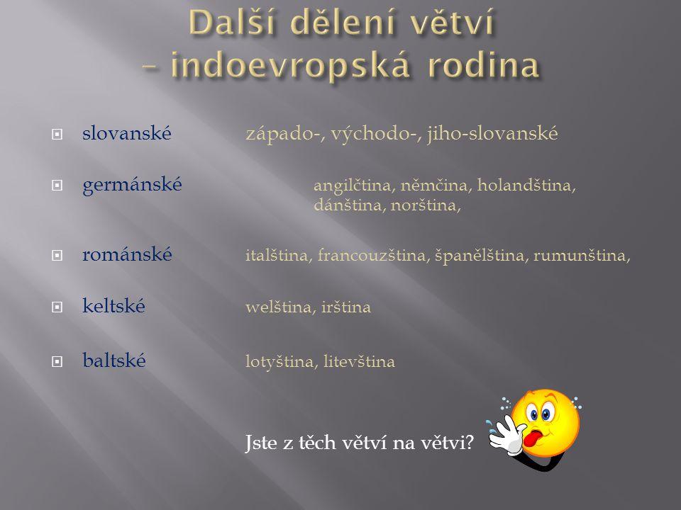  slovanskézápado-, východo-, jiho-slovanské  germánské angilčtina, němčina, holandština, dánština, norština,  románské italština, francouzština, šp