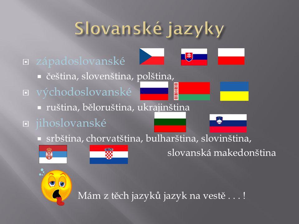  západoslovanské  čeština, slovenština, polština,  východoslovanské  ruština, běloruština, ukrajinština  jihoslovanské  srbština, chorvatština,