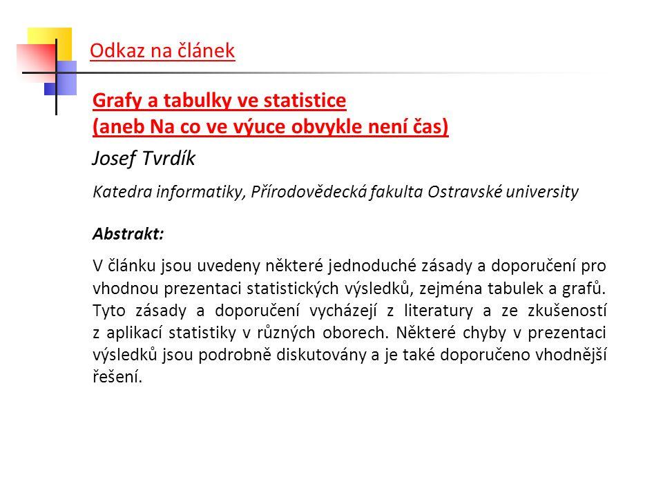 Odkaz na článek Grafy a tabulky ve statistice (aneb Na co ve výuce obvykle není čas) Josef Tvrdík Katedra informatiky, Přírodovědecká fakulta Ostravsk