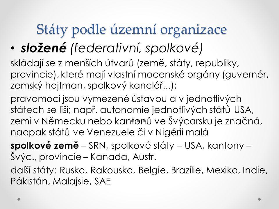 Státy podle územní organizace složené (federativní, spolkové) skládají se z menších útvarů (země, státy, republiky, provincie), které mají vlastní moc