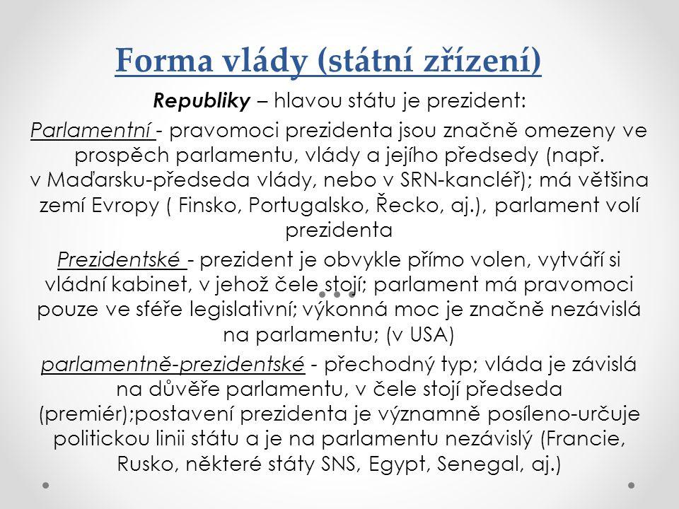 Forma vlády (státní zřízení) Republiky – hlavou státu je prezident: Parlamentní - pravomoci prezidenta jsou značně omezeny ve prospěch parlamentu, vlá