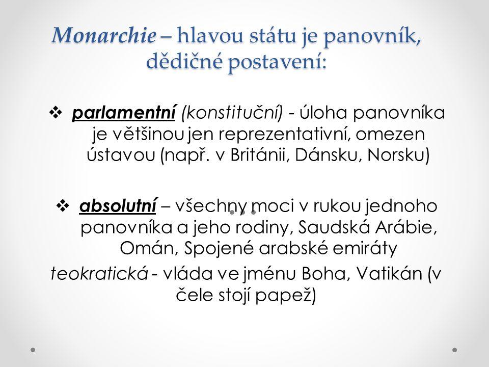 Monarchie – hlavou státu je panovník, dědičné postavení:  parlamentní (konstituční) - úloha panovníka je většinou jen reprezentativní, omezen ústavou
