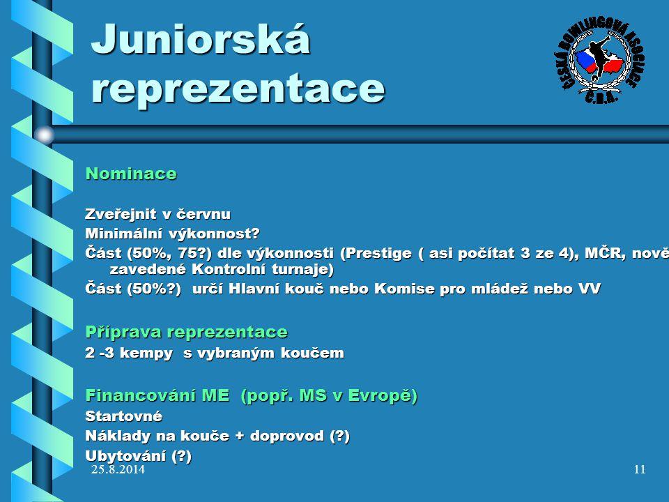 25.8.201411 Juniorská reprezentace Nominace Zveřejnit v červnu Minimální výkonnost? Část (50%, 75?) dle výkonnosti (Prestige ( asi počítat 3 ze 4), MČ