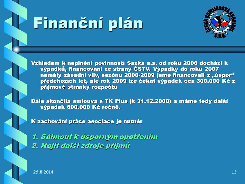 25.8.201413 Finanční plán Vzhledem k neplnění povinností Sazka a.s. od roku 2006 dochází k výpadků, financování ze strany ČSTV. Výpadky do roku 2007 n