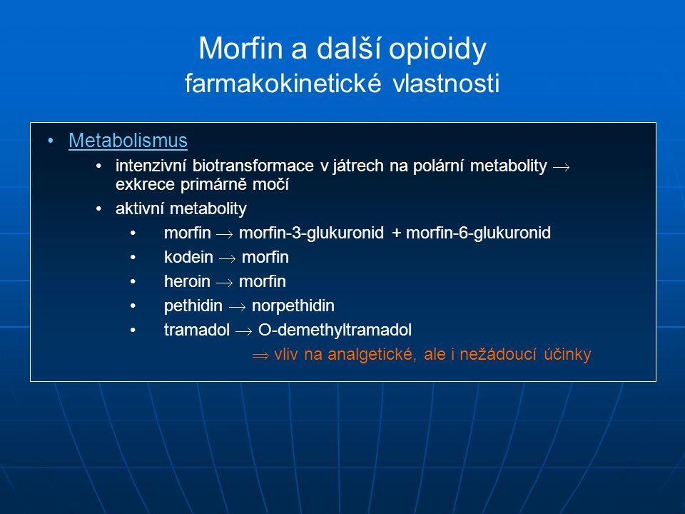 Metabolismus intenzivní biotransformace v játrech na polární metabolity  exkrece primárně močí aktivní metabolity morfin  morfin-3-glukuronid + morfin-6-glukuronid kodein  morfin heroin  morfin pethidin  norpethidin tramadol  O-demethyltramadol  vliv na analgetické, ale i nežádoucí účinky Morfin a další opioidy farmakokinetické vlastnosti