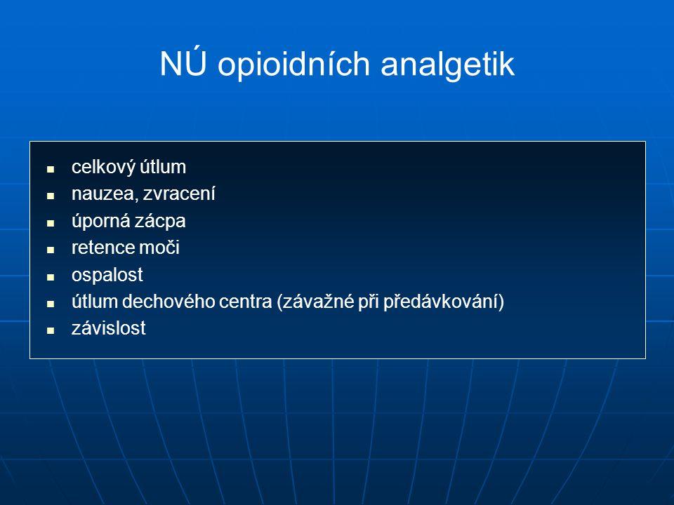 NÚ opioidních analgetik celkový útlum nauzea, zvracení úporná zácpa retence moči ospalost útlum dechového centra (závažné při předávkování) závislost