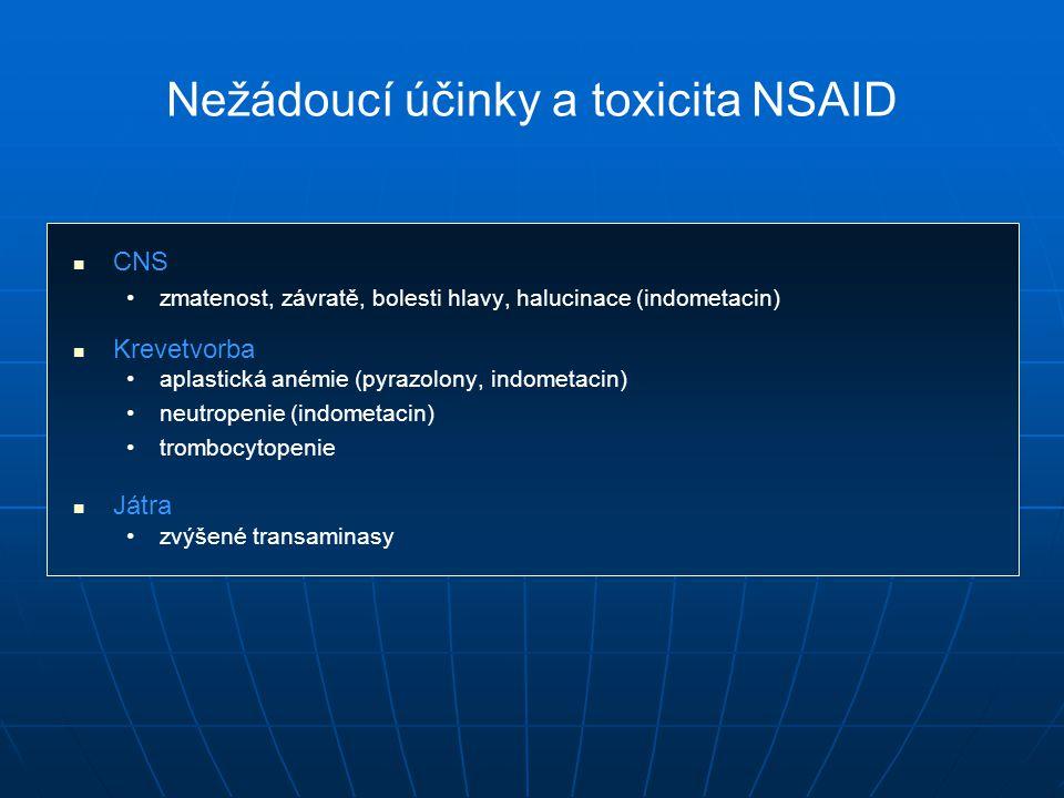 Nežádoucí účinky a toxicita NSAID CNS zmatenost, závratě, bolesti hlavy, halucinace (indometacin) Krevetvorba aplastická anémie (pyrazolony, indometacin) neutropenie (indometacin) trombocytopenie Játra zvýšené transaminasy