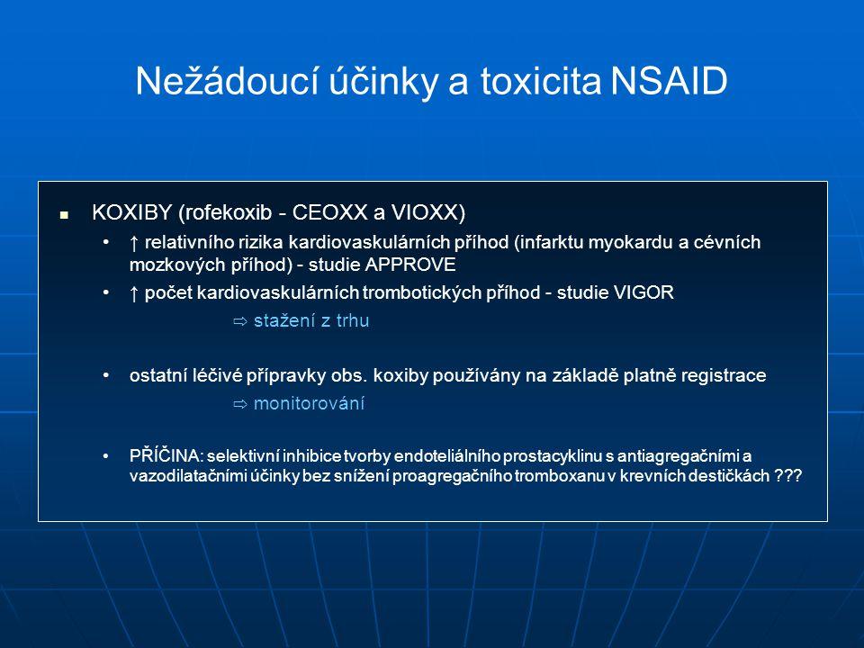 KOXIBY (rofekoxib - CEOXX a VIOXX) ↑ relativního rizika kardiovaskulárních příhod (infarktu myokardu a cévních mozkových příhod) - studie APPROVE ↑ počet kardiovaskulárních trombotických příhod - studie VIGOR ⇨ stažení z trhu ostatní léčivé přípravky obs.