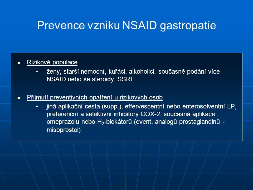 Prevence vzniku NSAID gastropatie Rizikové populace ženy, starší nemocní, kuřáci, alkoholici, současné podání více NSAID nebo se steroidy, SSRI...