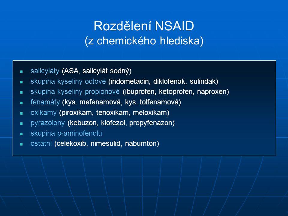 Rozdělení NSAID (z chemického hlediska) salicyláty (ASA, salicylát sodný) skupina kyseliny octové (indometacin, diklofenak, sulindak) skupina kyseliny propionové (ibuprofen, ketoprofen, naproxen) fenamáty (kys.