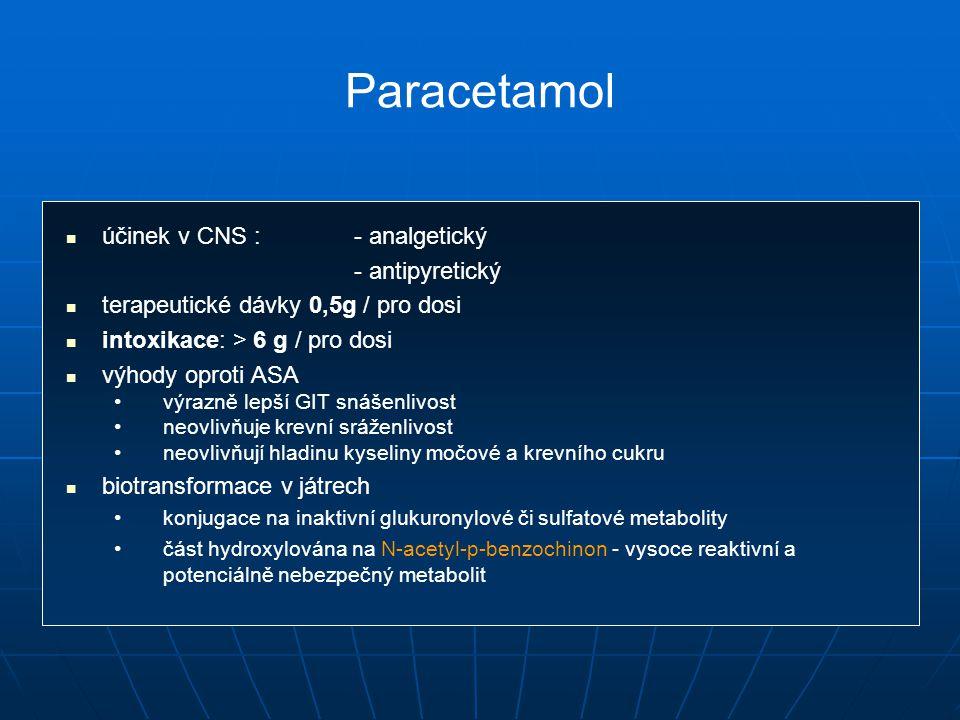 Paracetamol účinek v CNS :- analgetický - antipyretický terapeutické dávky 0,5g / pro dosi intoxikace: > 6 g / pro dosi výhody oproti ASA výrazně lepší GIT snášenlivost neovlivňuje krevní sráženlivost neovlivňují hladinu kyseliny močové a krevního cukru biotransformace v játrech konjugace na inaktivní glukuronylové či sulfatové metabolity část hydroxylována na N-acetyl-p-benzochinon - vysoce reaktivní a potenciálně nebezpečný metabolit