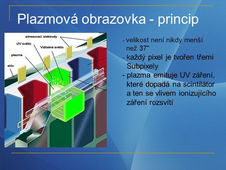 Plazmová obrazovka - princip - velikost není nikdy menší než 37